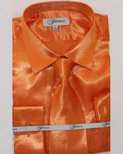 FerSH1 Mens Shiny Luxurious Shirt Orange