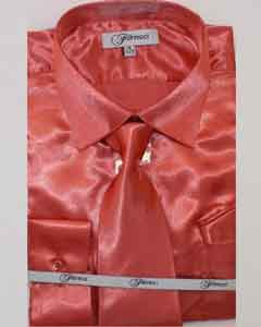 FerSH1 Mens Shiny Luxurious Shirt Salmon ~ Coral ~ Melon ~ Peachish