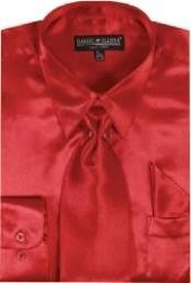 Cheap Sale Mens Red Shiny Silky Satin Dress Shirt/Tie
