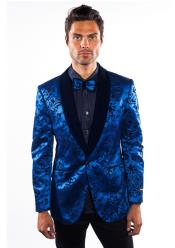 Mens Shawl Lapel Flashy Shiny Royal Blue Sequin Blazer