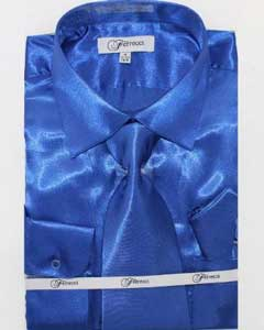 Mens Shiny Luxurious Shirt Royal Blue