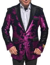 Alberto Nardoni Shiny Sequin Tuxedo Black Lapel paisley look sport jacket