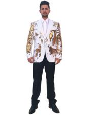 Mens Shiny Sequin 2 Button Single Breasted Gold ~ White Blazer ~ Sport Coat