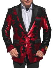 "Alberto Nardoni Shiny Sequin Red Tuxedo Black Lapel ""paisley look"" sport jacket ~ coat"