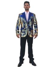 Mens Shiny Sequin Single Breasted Royal Blue ~ Gold 2 Button Peak Lapel Blazer ~ Sport Coat