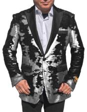 Fashion Alberto Nardoni white Shiny Sequin Tuxedo Black Lapel paisley look sport