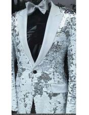 "Fashion Alberto Nardoni Shiny Sequin Tuxedo Black Lapel ""paisley"