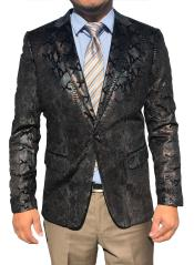Sequin ~ Shiny ~ Paisley Snakeskin Black Sport Coat Fashion Blazer