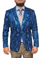 Blue Snakeskin Sequin ~ Shiny ~ Paisley Sport Coat Fashion Blazer