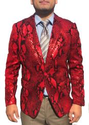 Snakeskin Sequin ~ Shiny ~ Paisley Sport Coat Red Fashion Cheap