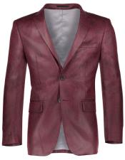 Mens Shiny Solid Pattern Slim Fit 2 Button Burgundy ~ Wine ~