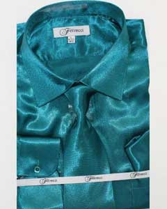 FerSH1 Mens Shiny Luxurious Shirt Teal