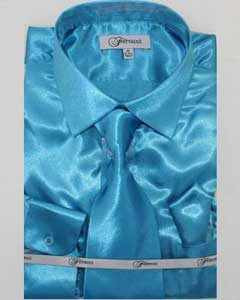 Mens Shiny Luxurious Shirt turquoise ~ Light Blue Stage Party