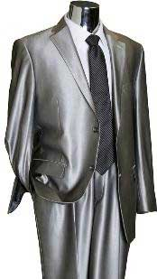2 Button Silver Grey ~ Gray Flashy Sharkskin Mens Suit