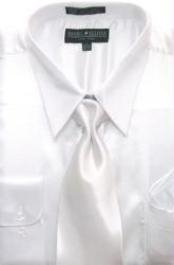 Cheap Priced Sale Mens White Shiny Silky Satin Dress Shirt/Tie