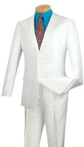 & Formal Shiny White Trimmed Slim Fit Suits Fitted Style  Mens Sharkskin Suit