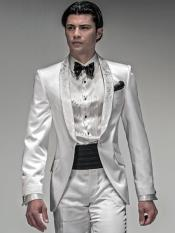 Mens Shiny White Suit & Silver Lapel Tuxedo Vested 3 Piece Tux Jacket