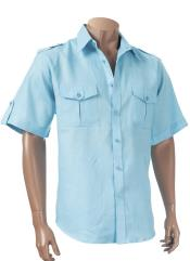 Aqua Blue Mens Short Sleeve 100% Linen Paramilitary Shirt