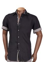 Mens Short Sleeve Black 100% Linen Shirt With Contrast Trimming