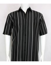 Short Sleeve stripe mens fashion Black/White shirt