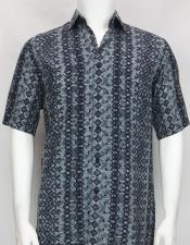 Blue button down Short Sleeve diamond pattern mens shirt