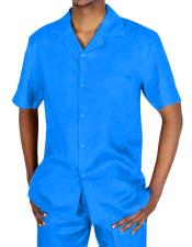 Mens Two Piece Short Sleeve Blue Linen Casual Casual Two Piece Walking