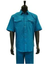 Mens Short Sleeve Teal Blue Linen 2 Piece Casual Casual Two Piece