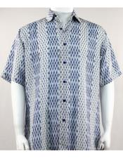 Blue/White Short Sleeve mens new pattern fashion shirt