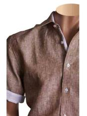 Mens 100% Linen Summer Brown Short Sleeve Fashion Shirt