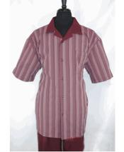 Mens 5 Buttons Stripe Pattern Short Sleeve Burgundy Shirt