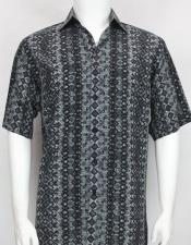Bassiri button down Short Sleeve diamond pattern Mens charcoal shirt