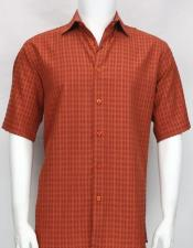 button down Short Sleeve mens Copper shadow texture shirt