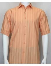 Short Sleeve shadow stripe mens fashion Salmon ~ Coral color shirt