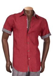 Cranberry Mens Short Sleeve Collared 100% Linen Shirt
