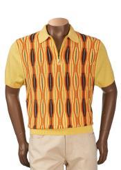 Gold Cotton Blend Short Sleeve Oblong Sweater