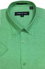 Summer Wear Basic Button Down Short Sleeve Green Oxford Mens Dress Shirt