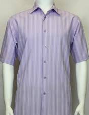 Bassiri Short Sleeve shadow stripe mens fashion Lavender shirt