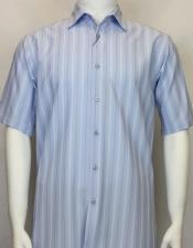 Short Sleeve shadow stripe mens Light Blue shirt
