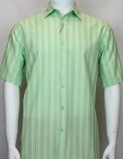 Bassiri Light Green button down Short Sleeve shadow stripe Mens shirt