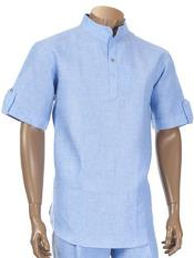 Mens Short Sleeve 100% Linen Two Piece Banded Collar Blue Shirt