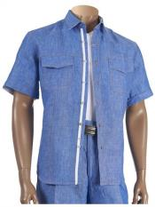 Mens Short Sleeve 100% Linen Two Piece Denim Blue Shirt