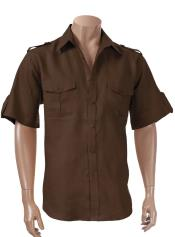 Mens Brown Short Sleeve 100% Linen Paramilitary Shirt