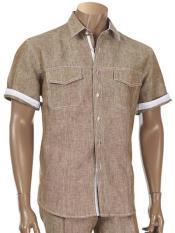 Mens Short Sleeve 100% Linen Two Piece Brown Shirt