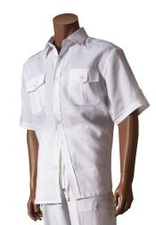 Mens Short Sleeve 100% Linen White Button Closure Shirt