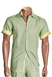 Mens Short Sleeve Mint Linen Button Closure Solid Shirt