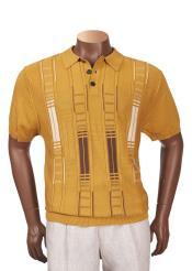 Cotton Blend Short Sleeve Mustard Geometric Pattern Sweater