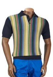 Navy (Cotton Blend) Multicolor Stripe Short Sleeve Sweater