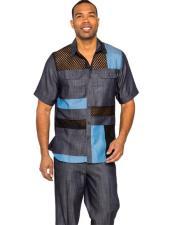 Mens Short Sleeve Navy Linen Fashionable Casual Dress Shirt