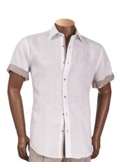 Mens Off White Short Sleeve 100% Linen Shirt With Contrast Trimming