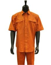 Orange Two Piece Short Sleeve Linen Casual Casual Two Piece Walking